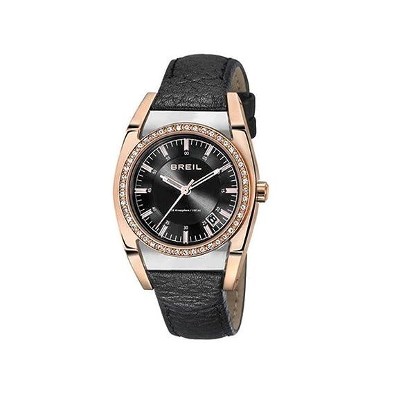 BREIL TW0966 - Reloj Analógico de Cuarzo para Mujer, correa de Cuero color Negro