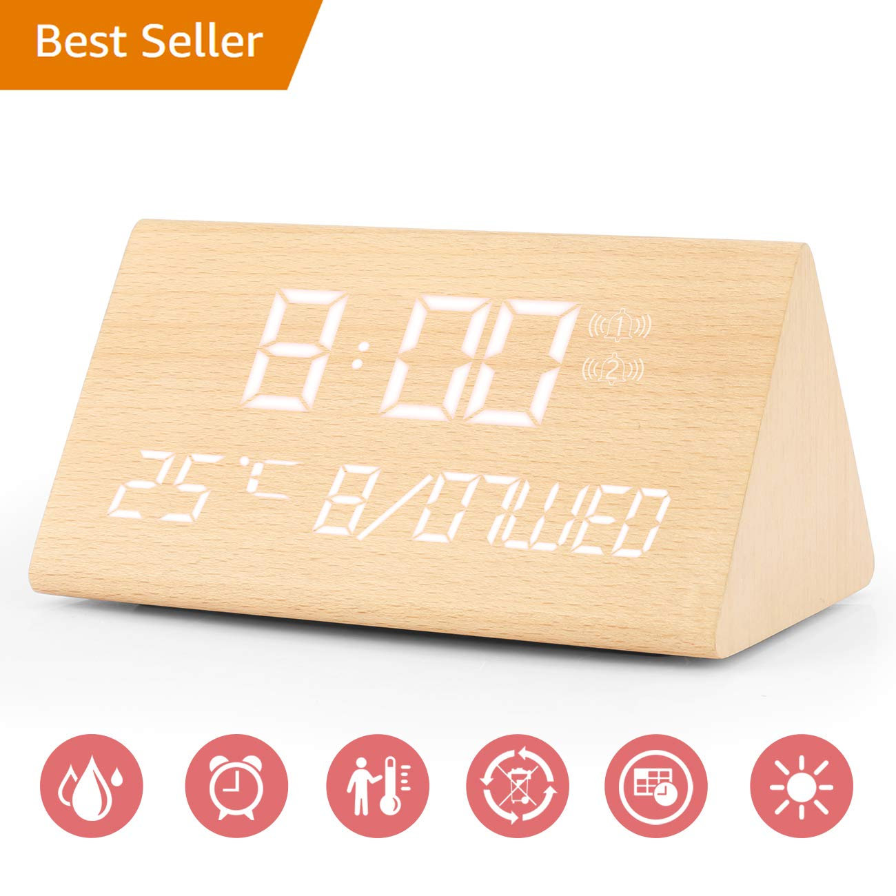 Digital Alarm Clock, Adjustable Brightness Voice Control Desk Wooden Alarm Clock, Large Display Time Temperature USB/Battery Powered for Home, Office, Kids (Wood)