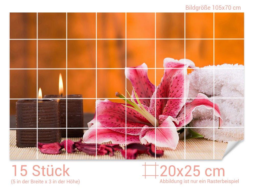 GRAZDesign 761041_20x25_90 Fliesenaufkleber Kerzen Lilie für Kacheln Kacheln Kacheln   Bad-Fliesen mit Fliesenbildern überkleben (Fliesenmaß  20x25cm (BxH)  Bild  135x90cm (BxH)) 4045b9