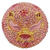 Blush Pink Enameled Pig Head Figurine Trinket Jewelry Box With Swarovski Elements Crystals