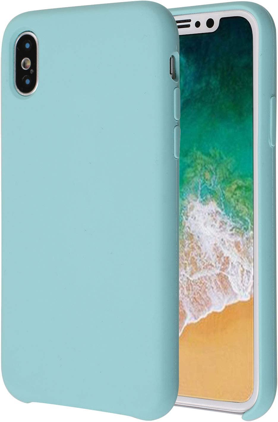 Soft Liquid Silicone iPhone X Cover Case Inner Soft Microfiber Cloth Lining Cushion for Apple iPhone X/10 5.8inch (Mint)