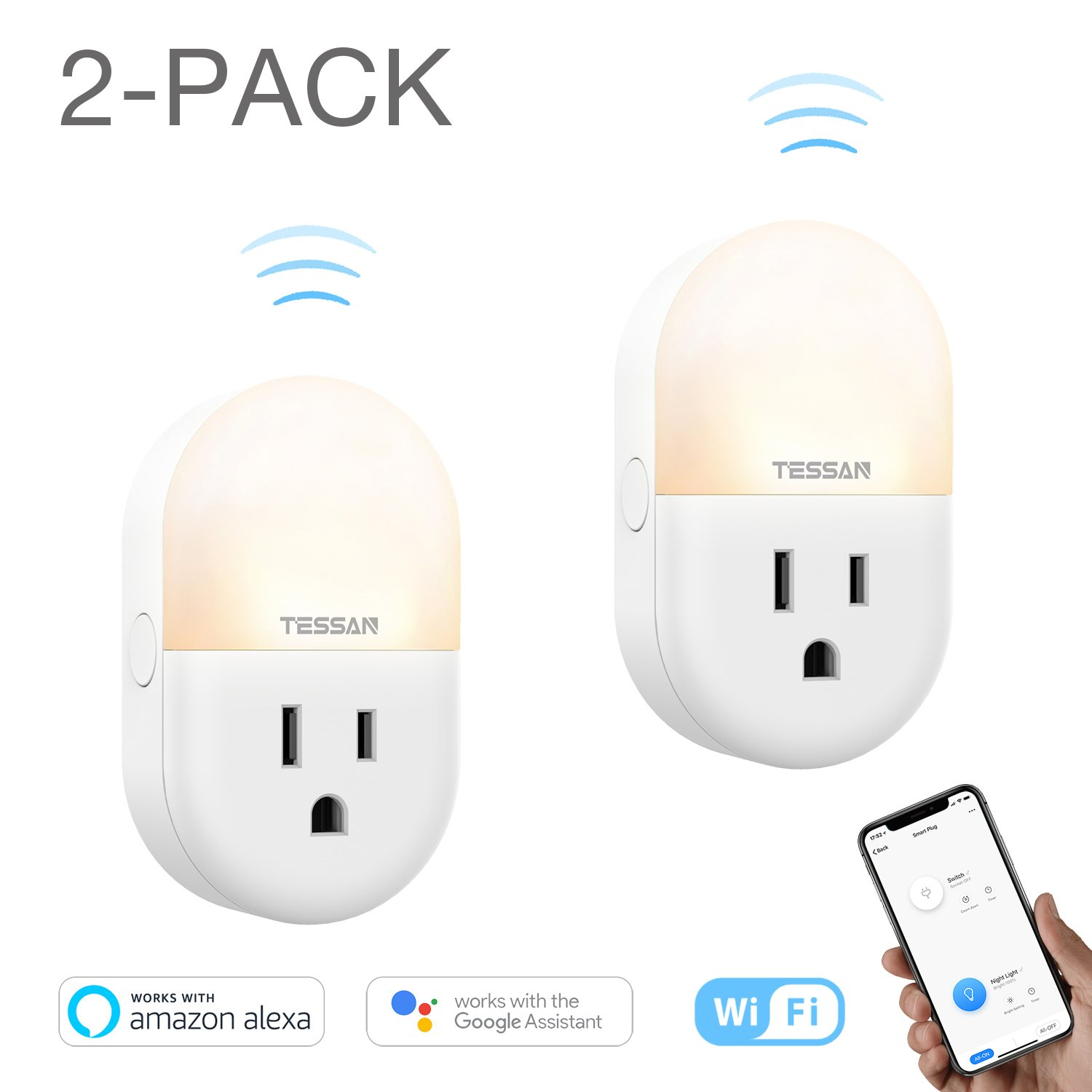 Plug in Smart Night Light with WiFi Outlet, Adjustable Warm LED Nursery Nightlight for Kids, Compatible with Alexa, Google Home - 2 Pack