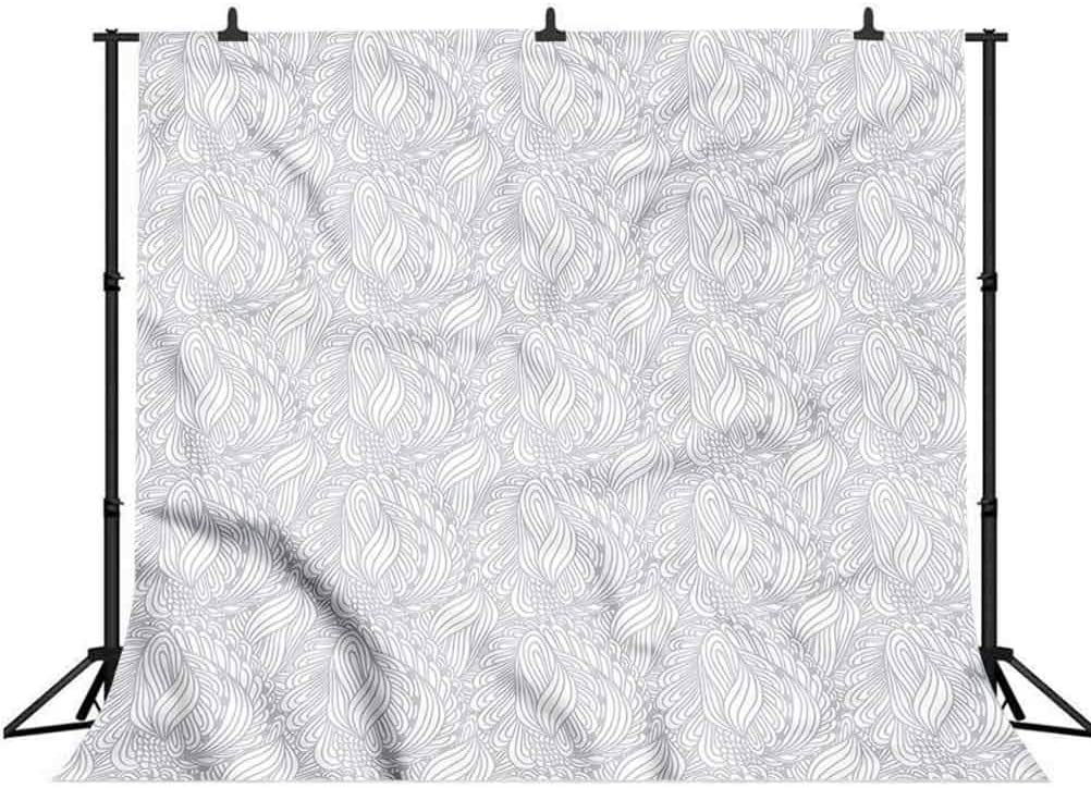 6x6FT Vinyl Photo Backdrops,Grey and White,Continuous Swirls Photoshoot Props Photo Background Studio Prop