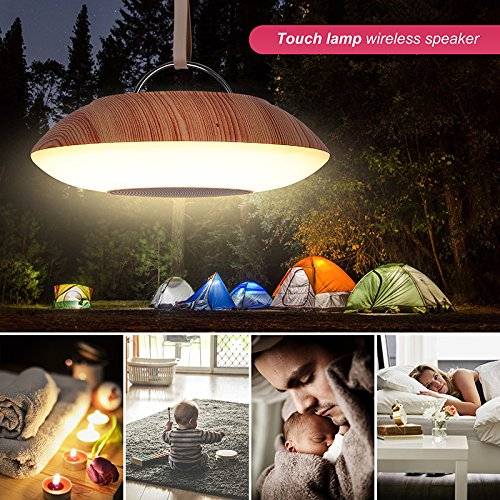 Table Lamp with Bluetooth Speaker – Perfect for Bedside Night Stand, Desk or Table – LED Light Touch Control - Round with Faux Wood Grain Finish Base by Dependable Direct (Image #4)