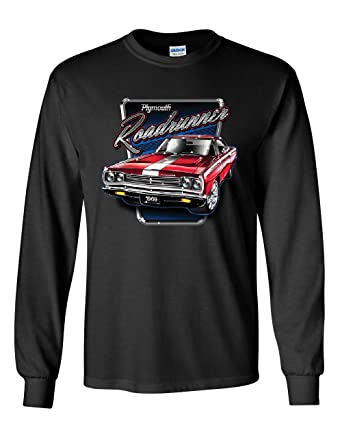 224f019d Plymouth Roadrunner Long Sleeve T-Shirt American Muscle Car Classic Route  66 Tee Black S