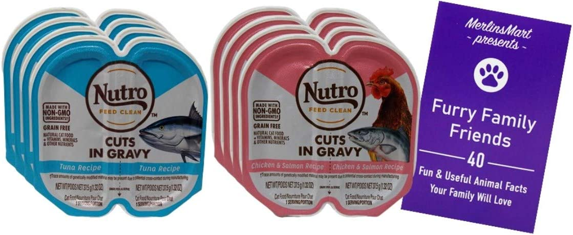 Nutro Feed Clean Grain Free Cuts in Gravy Cat Food 2 Flavor 8 Can Variety | (4) Each: Chicken Salmon, Tuna (2.64 Ounces) Plus Fun Facts Booklet Bundle