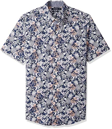 - Nautica Men's Big and Tall Short Sleeve Pineapple Print Button Down Shirt, Maritime Navy, 2XLT