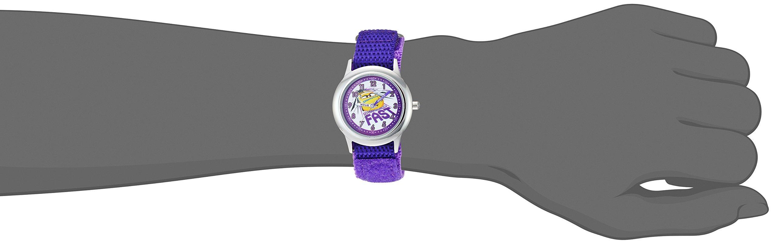 Disney Girls Cars 3 Stainless Steel Analog-Quartz Watch with Nylon Strap, Purple, 18.8 (Model: WDS000462 by Disney (Image #2)
