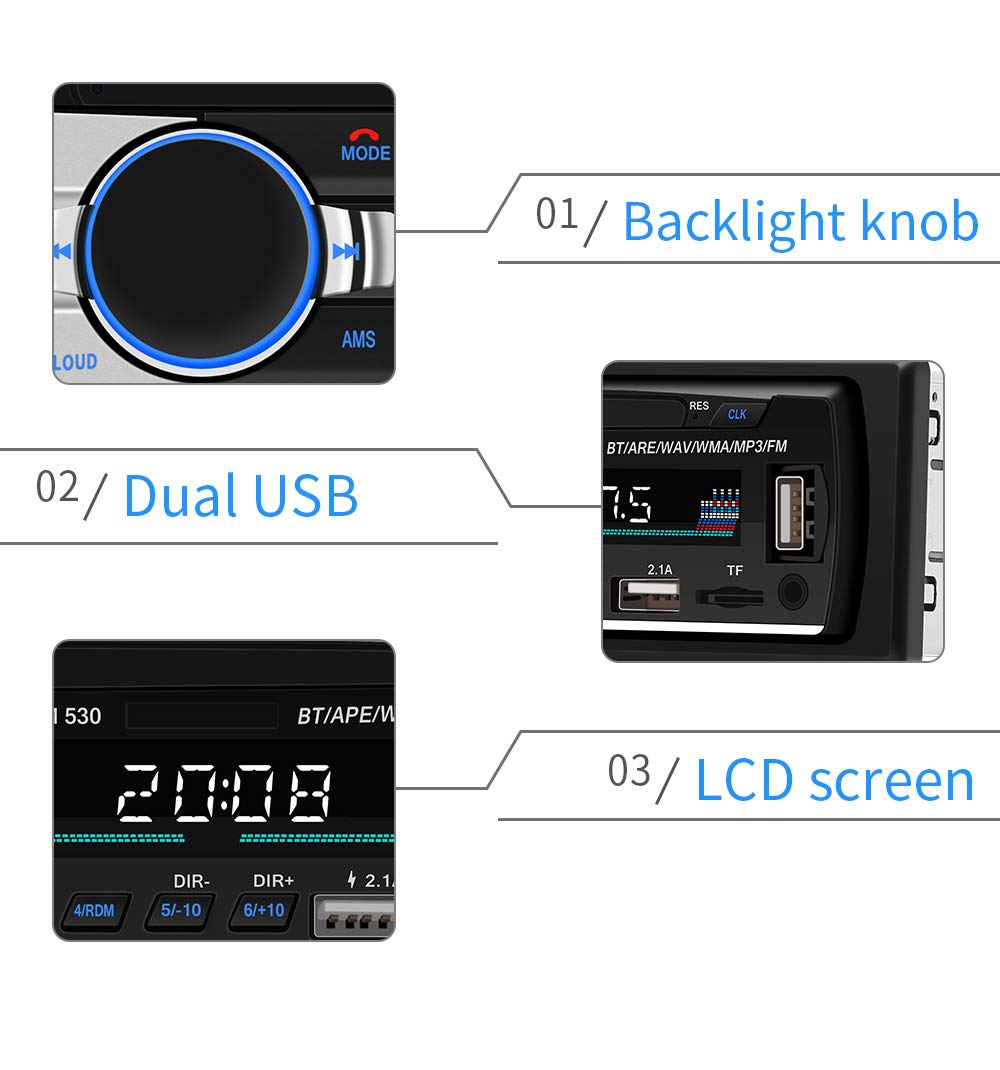 Car Stereo With Bluetooth Single Din In Dash Radio Jeep Sound Bar Wiring Diagram Fm Mp3 Audio Player Supprot Usb Sd Aux Flac Wireless Remote Control