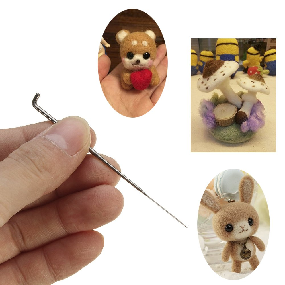 DIY Craft Wool Felt Stitch Punch Tool Solid Wood Handle with Eight Needles Tool