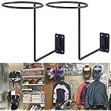 PEI Motorcycle Accessories Helmet Holder Jacket Hanger Wall Mounted Multifunctional Rack (2 Pack black)