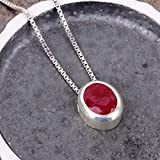 Genuine-Burma-Ruby-Sterling-Silver-925-Pendant-Necklace-18-Chain