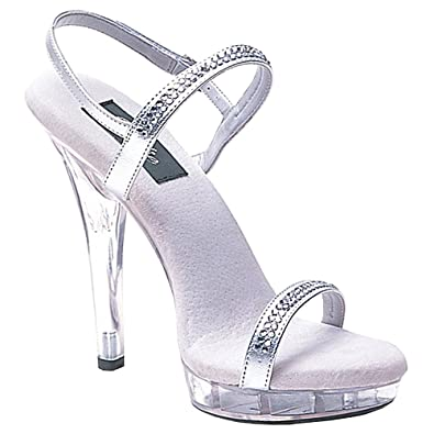 Amazon.com | Womens Evening Shoes Silver Rhinestone Sandals Ankle ...
