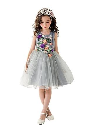 71a8c2d783120  eones ドレス 子供 フォーマルドレス 子供服 ワンピース 花刺繍 グレー 花柄 発表
