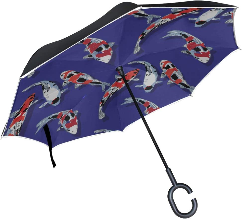 Double Layer Inverted Inverted Umbrella Is Light And Sturdy Pattern Koi Carps Fish Pond Reverse Umbrella And Windproof Umbrella Edge Night Reflection
