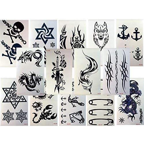 10planches de faux tatouages autocollants pour homme Noir Avec dragon renard tête de mort et autres Pour le corps