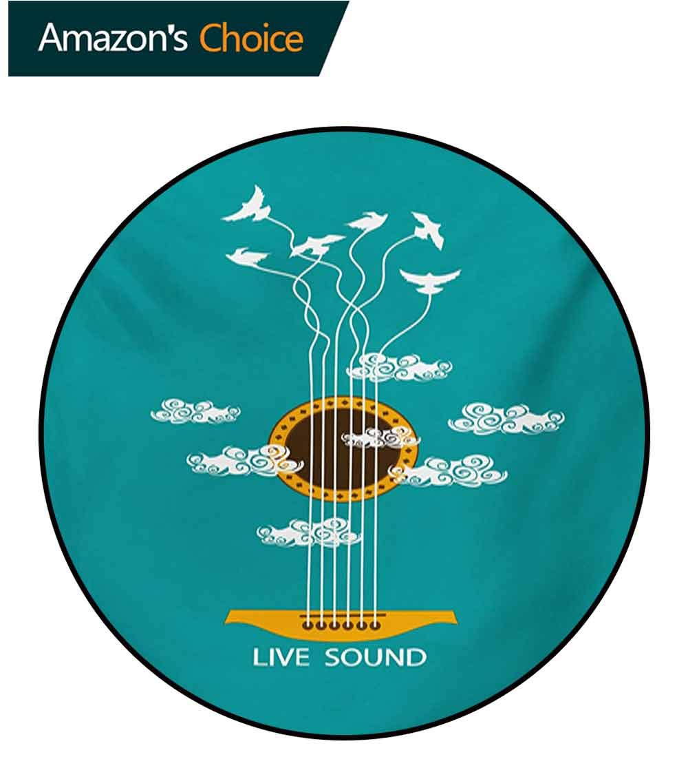 Guitar Non-Slip Area Rug Pad Round,Abstract Music Themed With Birds On Strings And Clouds Illustration Protect Floors While Securing Rug Making Vacuuming,Diameter-71 Inch Turquoise Marigold White