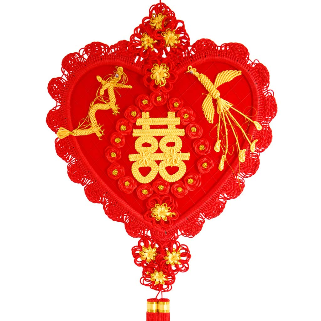 CFJKN Chinese Knot Traditional Ornamental, Chinese New Year Decoration Fu Handcraft Knitted Hanging Knot Tassel Red Pendant for Home Office Holiday Decorations Gift,red_125x50cm