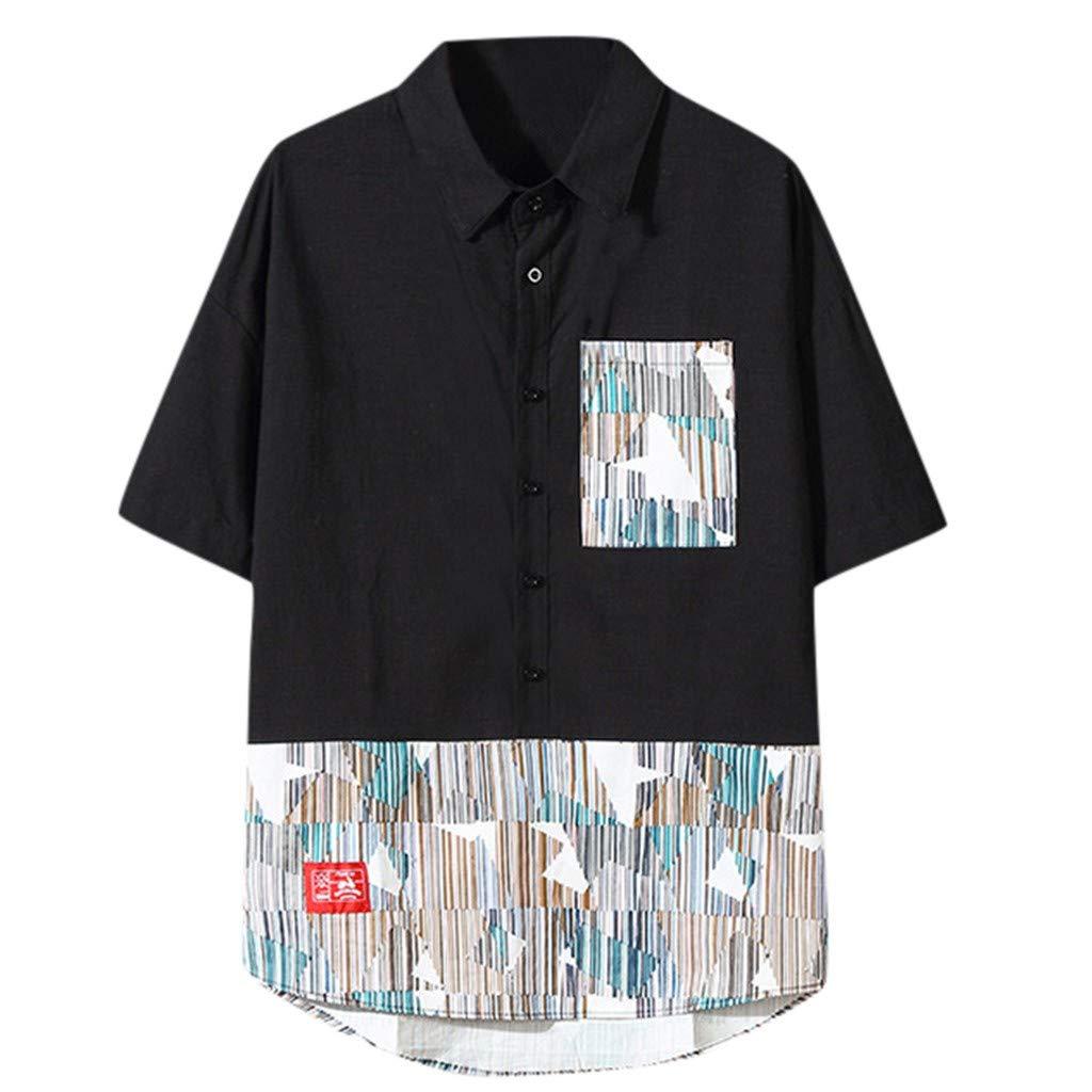 ZOMUSAR Mens Cotton Patchwork Turn Down Collar Loose Short Sleeve Shirt Blouse Mens Tank Tops Black
