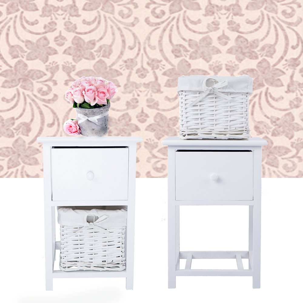 Pair of Bedside Table, Keinode Storage Cabinet Table With 1 Drawer 1 Wicker Storage Basket Classic White Wooden Furniture Shabby Chic Storage Unit Telephone Table chest of drawers Fully Assembled for Bedroom Living Room bathrooms Hallway