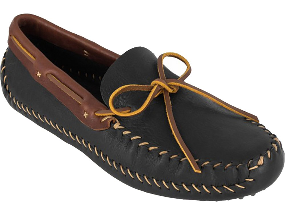 Minnetonka Men's 6011R - P.W. Driving Moc Leather Collar 10.5 M Black-Brown