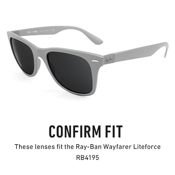 47a35a5f76 Amazon.com  Revant Polarized Replacement Lenses for Ray-Ban Wayfarer  Liteforce RB4195 Elite Black Chrome MirrorShield  Sports   Outdoors