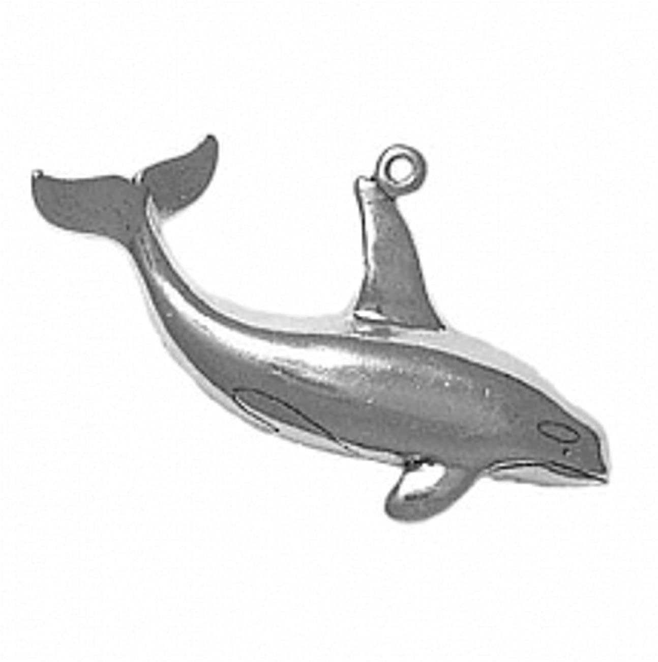 Sterling Silver Womens 1mm 3D One Sided Killer Whale Orca Pendant Necklace