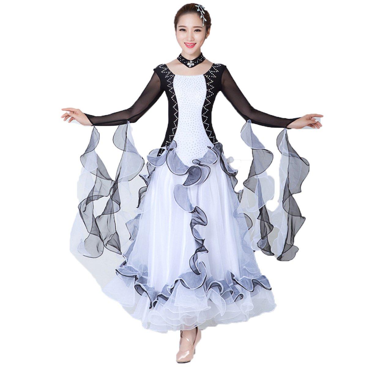 [L-night]モダンダンス衣装 社交ダンスドレス 黒白 長袖 ワルツドレス ラテンドレス 練習着競技用 スタンダードドレス ワルツ専用スカート発表会用演出服 開場衣装ワンピース ブラック/ホワイト XXX-Large