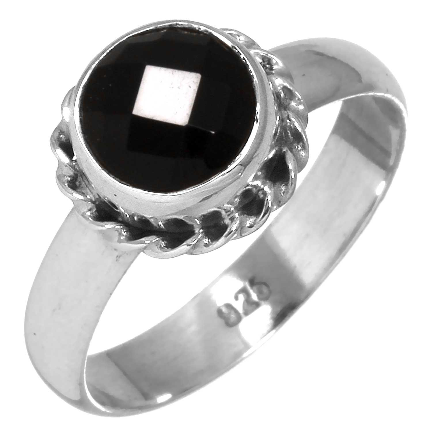 Genuine Black Onyx Gemstone Ring Solid 925 Sterling Silver Jewelry Size 7