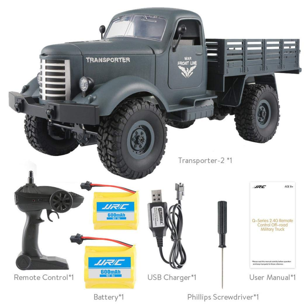 Dreamyth Military Truck JJRC Q61 RC 1:16 2.4G Remote Control 4WD Tracked Off-Road Car RTR Toy (A)
