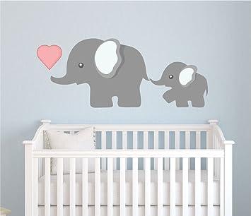 Elephant Wall Decal, Nursery Wall Decal, Mom And Baby Elephant Decal, Elephants  Decal