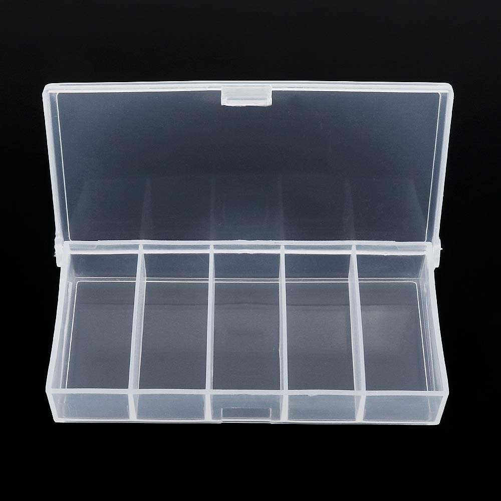 OriGlam 5 Grids Clear Plastic Organizer Box Storage Container Box, Fishing Tackle Storage Clear Jewelry Box, Plastic Bead Storage Container Organizer Box