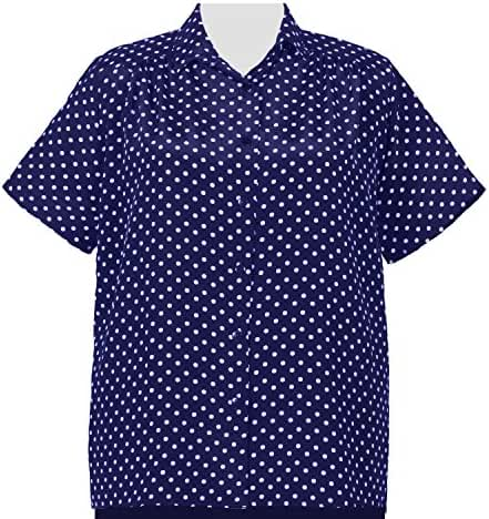 A Personal Touch Women's Plus Size Navy Aspirin Dots Short Sleeve Tunic with Shirring