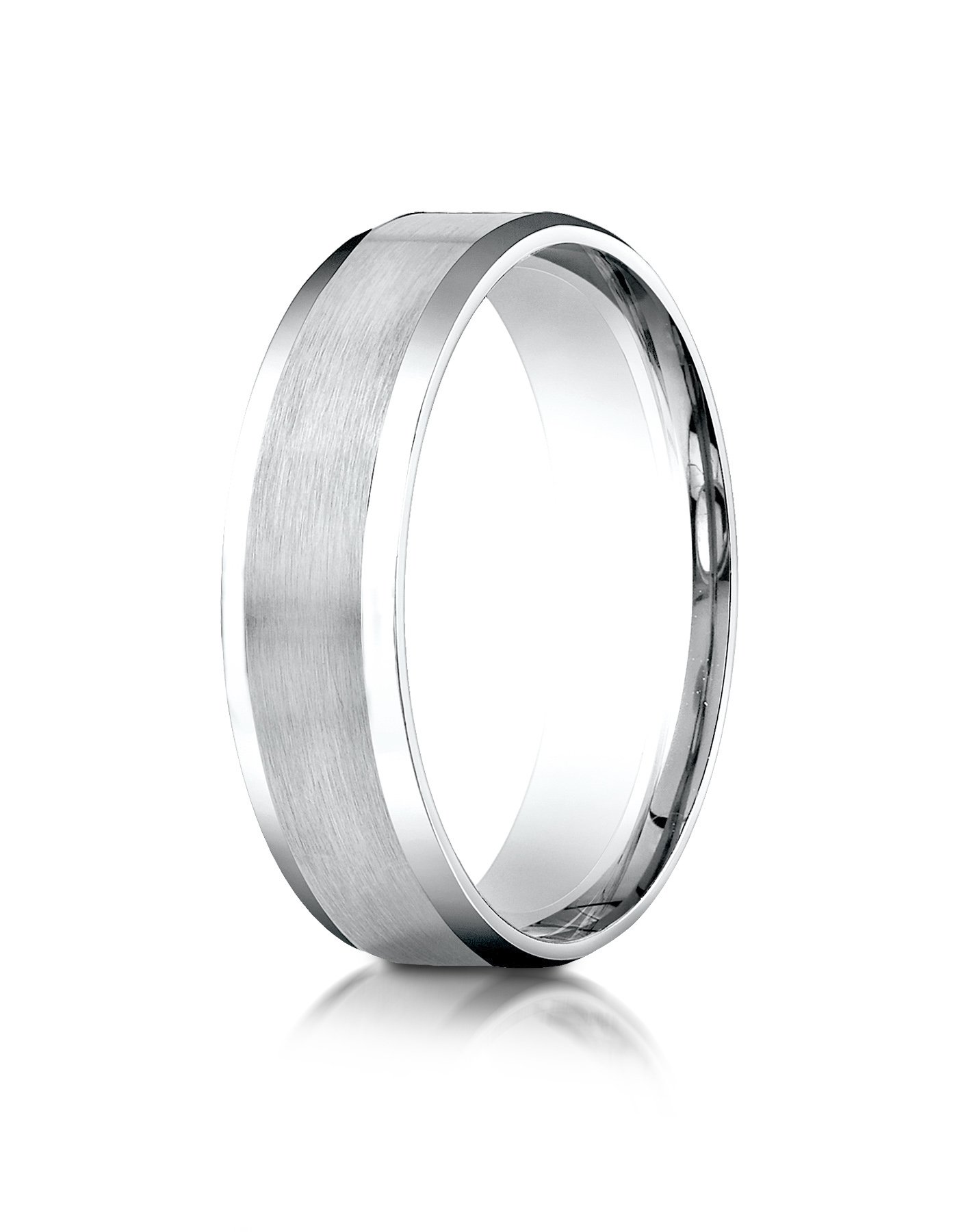Platinum 6mm Comfort-Fit Satin-Finished with High Polished Beveled Edge Carved Design Wedding Band Ring for Men & Women Size 4 to 15