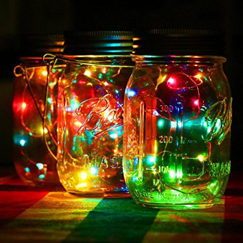 Highpot LED Fairy Light Solar For Mason Jar Lid Insert Color Changing Garden Decor For Bedroom Party Wedding Home DIY (Multi-colored)
