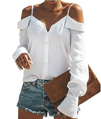ASSKDAN Femme Sexy élégant Chemise Épaule Dénudée Col V avec Bouton Manche  Longue Haut Blouse Tops 97b04f88e762