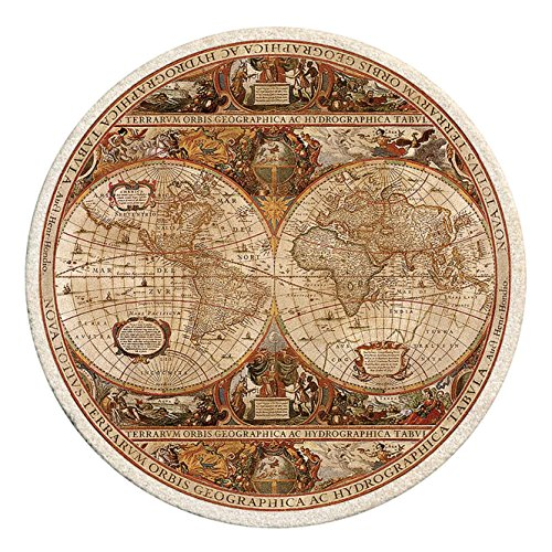 Absorbent Coasters Sandstone Natural (Thirstystone TS2006 Old World Passages Antique Map Printed Sandstone Coaster Set, Multi)