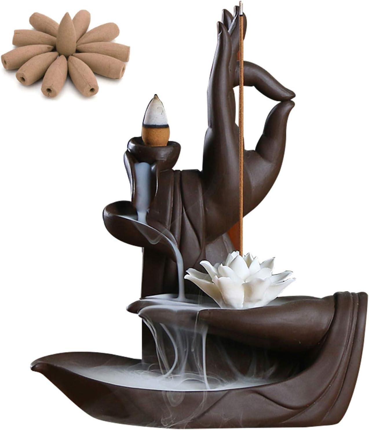 Backflow Incense Holder Burner Handmade Ceramic Incense Cones Sticks Holder Home Decor Waterfall Backflow Incense Burner Censer + 10 Backflow Incense Cones Gift (Lotus)