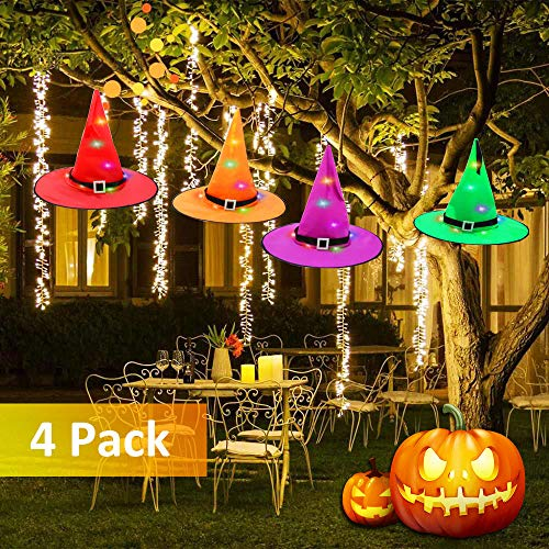 Halloween Decorations Witches Outdoor (AUSPICE Halloween Decorations Outdoor Hanging Witch Hat, Lighted Glowing Witch Hat String Lights Battery Operated,Halloween Decor for)