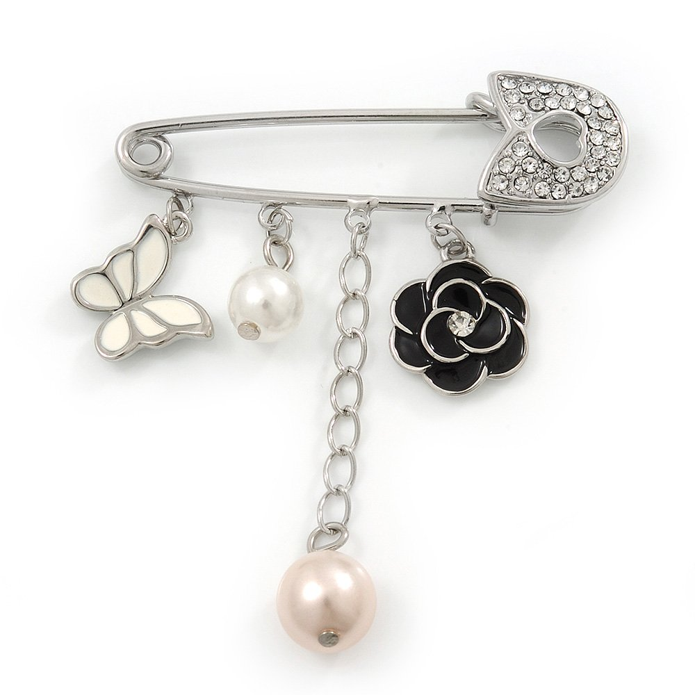 'Flower, Butterfly & Simulated Pearl Bead' Swarovski Crystal Safety Pin Brooch In Rhodium Plated Metal - 5cm Length 'Flower Avalaya
