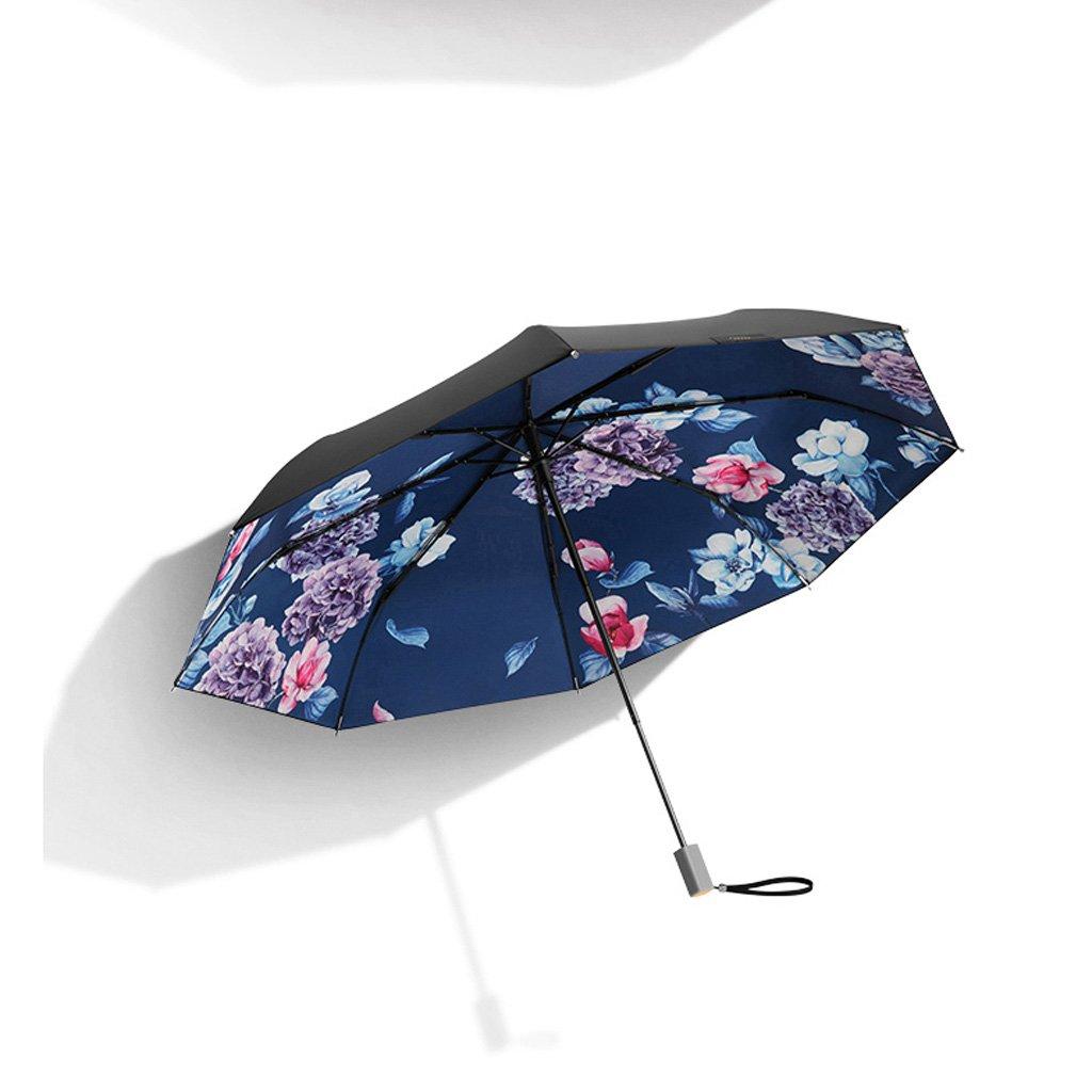 TLMY 日焼け止めの黒い傘の折り畳み傘の女性UV太陽の傘 傘 (色 : 青) B07HKY8XWK 青