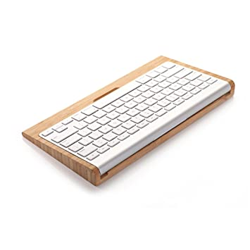 Samdi bambú Bluetooth Teclado inalámbrico Soporte Práctico Accesorio de soporte para Apple iMac PC ordenador