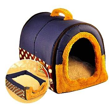 ACTNOW - casa de mascotas y sofá portátil 2 en 1, antideslizante para perro o gato, cálido y adorable, 3 tamaños, color azul: Amazon.es: Productos para ...