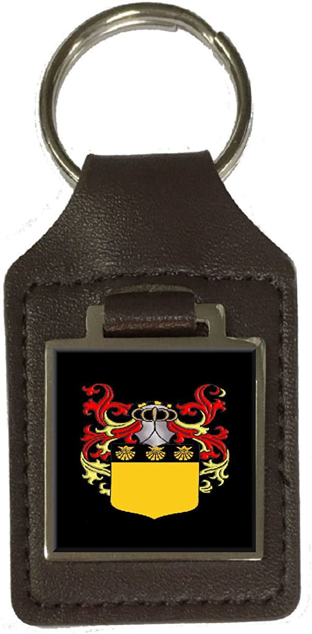 Graham Heraldry Surname Coat Of Arms Brown Leather Keyring Engraved