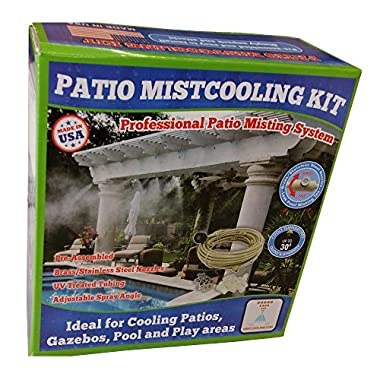Patio Misting System- Low Pressure (GMC575), 75ft of UV resistant flexible ¼ Inch tubing (60ft mist line + 15ft supply line), Attaches to any garden hose or spigot, comes with 20 Ultra Fine Mist Nozzles