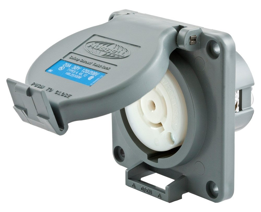 Hubbell Wiring Systems HBL2510SW Twist-Lock Watertight Safety Shroud Receptacle, 20 amp, 3-Phase Y 120/208VAC, 4-Pole, 5-Wire Grounding, L21-20R, Gray