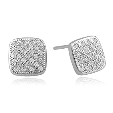 Amazon.com  Lureen Silver 8.5mm Convexity Square Iced Out CZ Stud ... 42bd5b9832d