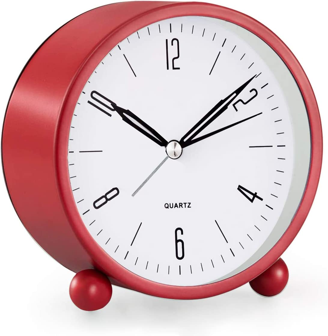 Analog Alarm Clock, 4 inch Super Silent Non Ticking Small Clock with Night Light, Battery Operated, Simply Design, for Bedroon, Bedside, Desk, (Red)