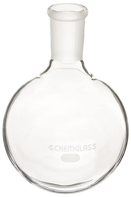 Chemglass CG-1515-03 Series CG-1515 Heavy Wall Round Bottom Flask with Thermowell 24//40 Outer Joint Single Neck 500 mL Capacity