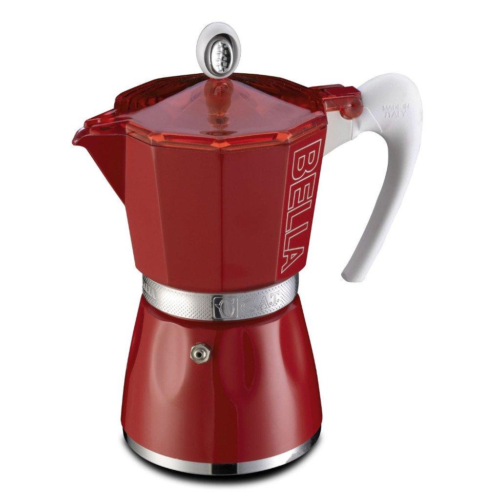 GAT Bella - Stove Top Espresso Coffee Maker - Ergonomic Handle - Certified Food Safe Aluminium - Red - 3 Cups by GAT